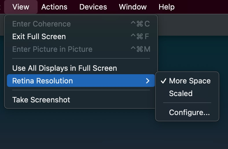 Parallels Ubuntu retina settings for parallels set to More Space.