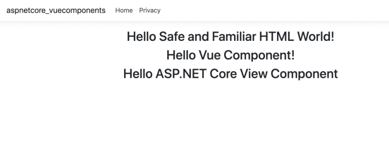 vue component in asp.net core project
