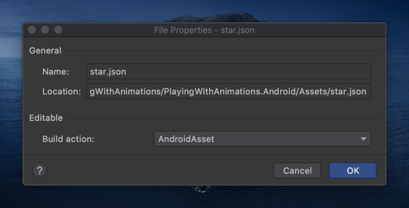 Android Asset settings Xamarin
