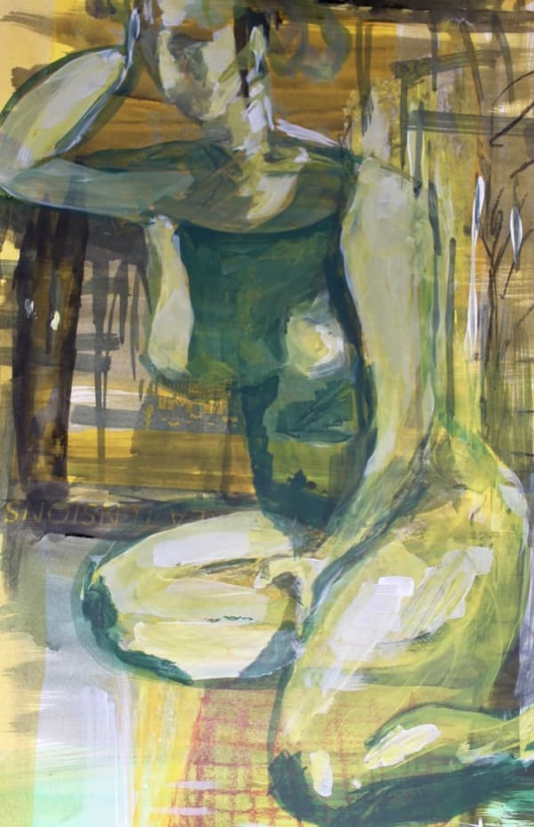 """SITTING NUDE"" – life painting acrylic 400X580mm"