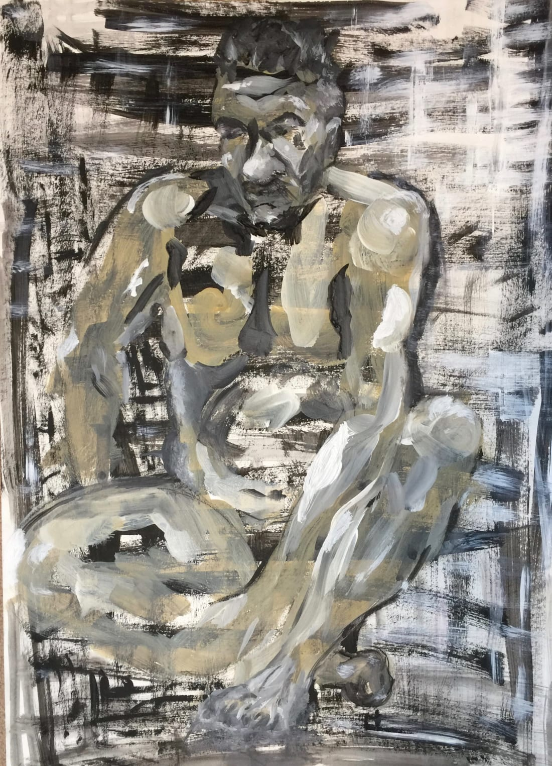 """Sitting Man"" – Life drawing acrylic chalk 400X580mm"