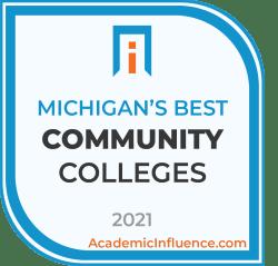Michigan's Best Community Colleges 2021 badge