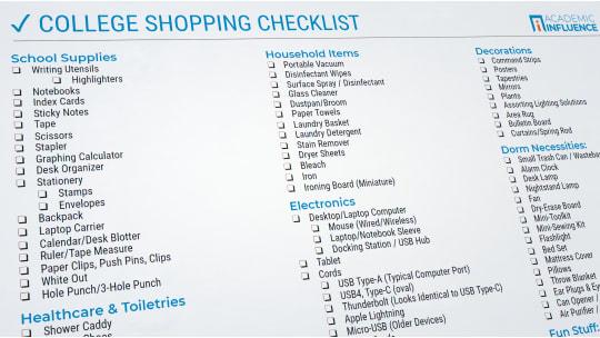 College Shopping Checklist Screenshot