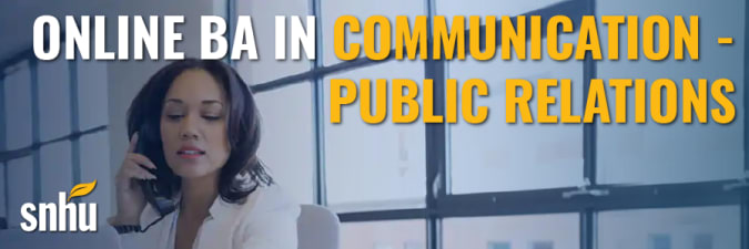 Advertisement for Southern New Hampshire University's ba in communication public relations program