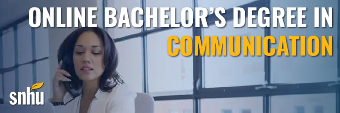 Advertisement for Southern New Hampshire University's ba in communication program