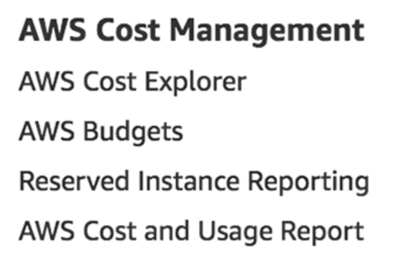 Cost Management services as listed on aws.amazon.com