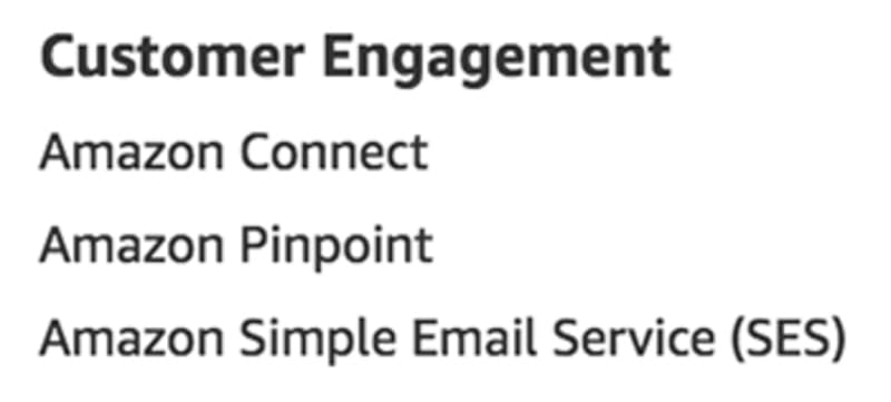 Customer Engagement services as listed on aws.amazon.com