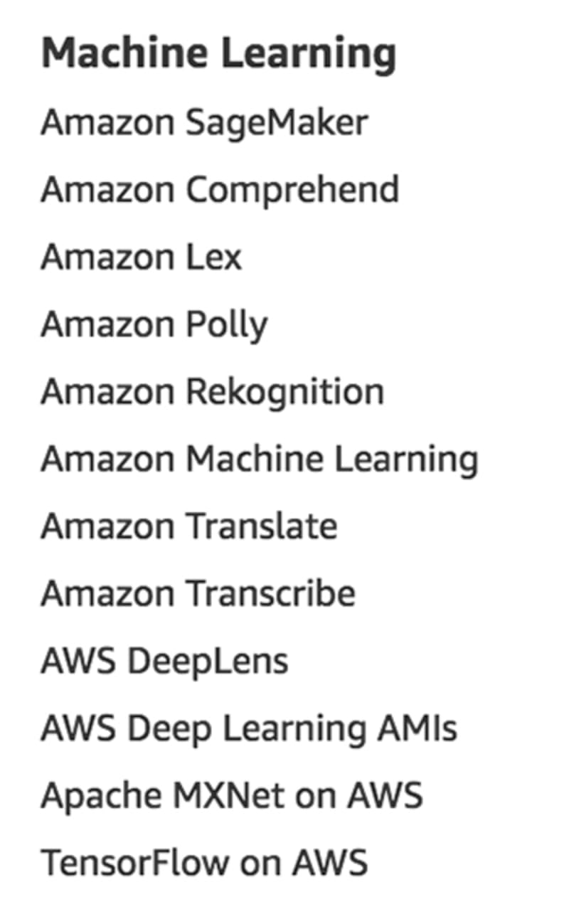 Machine Learning services as listed on aws.amazon.com