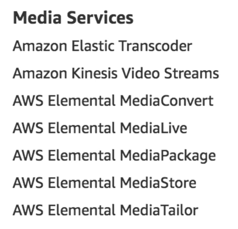 Media services as listed on aws.amazon.com