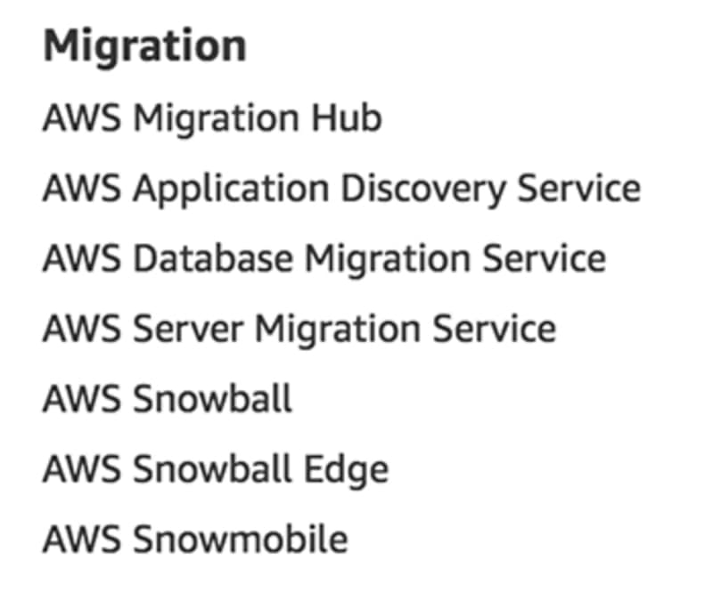 Migration services as listed on aws.amazon.com