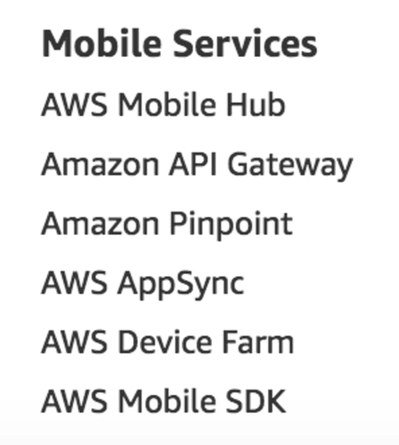 Mobile Services as listed on aws.amazon.com