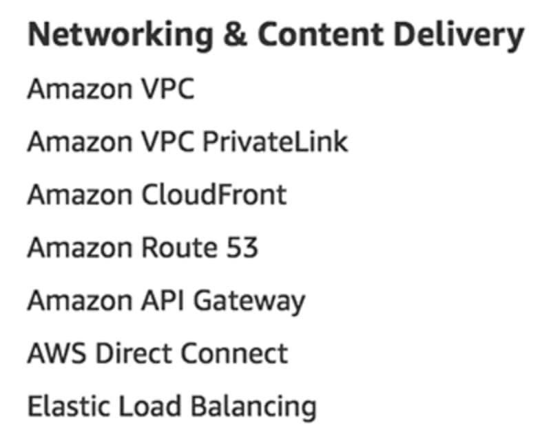 Networking & Content Delivery services as listed on aws.amazon.com