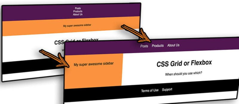 Header, Aside, Main and Footer before and after adding CSS Grid.