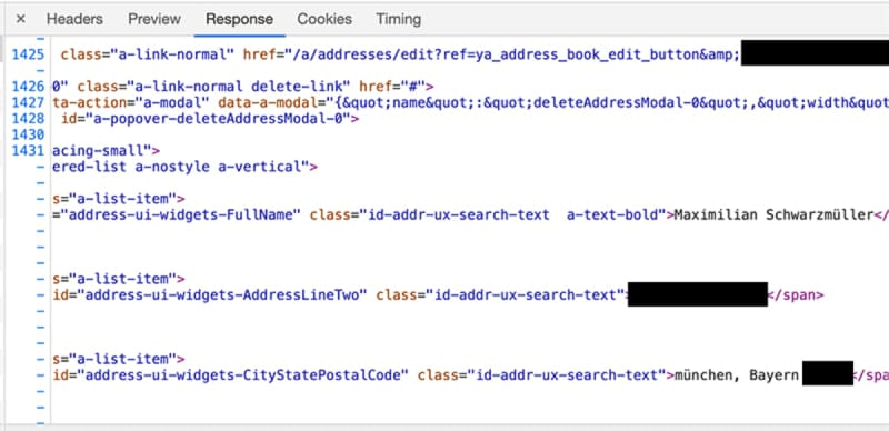 The response received by the browser contains a lot of personal data.