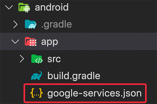 Store the google-services.json file in the android/app folder