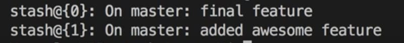 dropping stashes with git stash drop