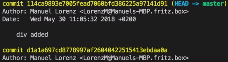 git log shows all commits of the current Branch