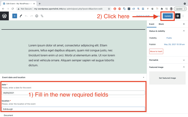 Update the post from before and values for the newly required fields (date and location). Then click 'Update' to confirm the changes.