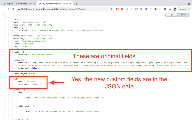 If you send another GET request to the endpoint, the newly added field data should be found.