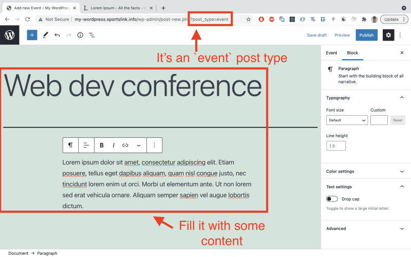 Add any content of your choice to that 'Events' post type.