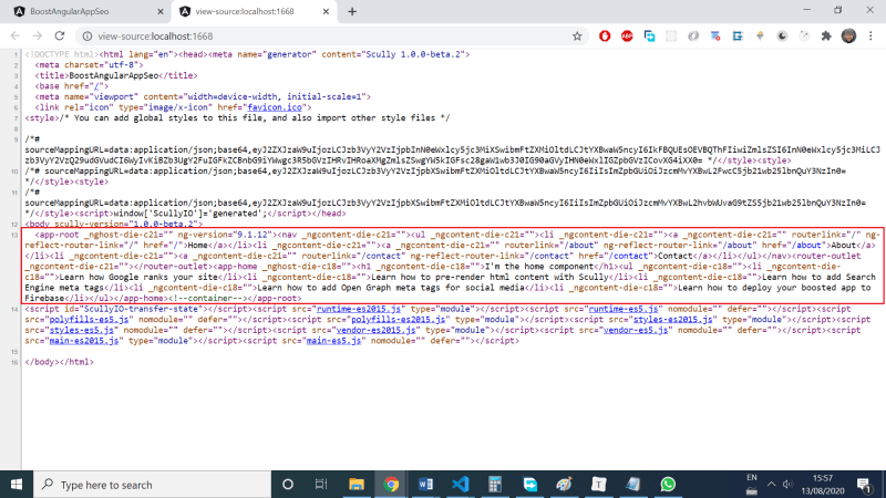We got more useful HTML source code on a page rendered with help of Scully