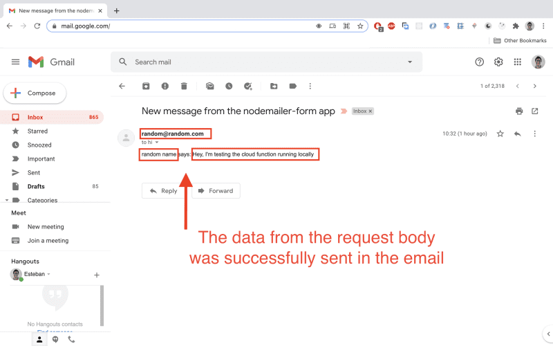 Open the email and you should see the request data in there.