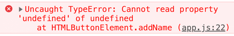 this leading to an undefined error