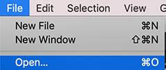 Open a folder in VS Code