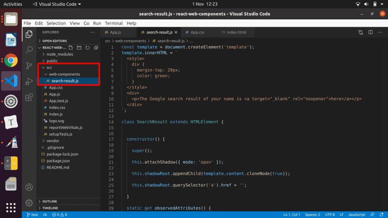 Add the web component file in src/web-components