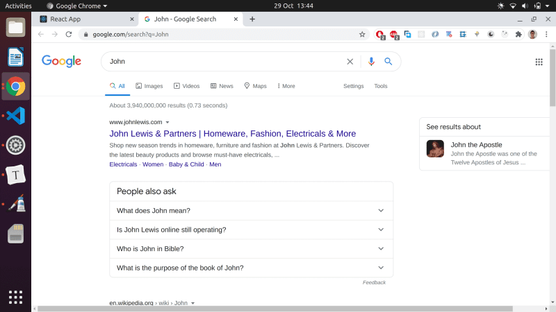 The google search page which will be loaded by our component.