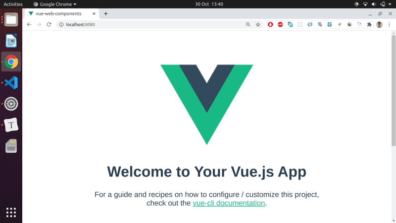 A plain Vue app running in the browser