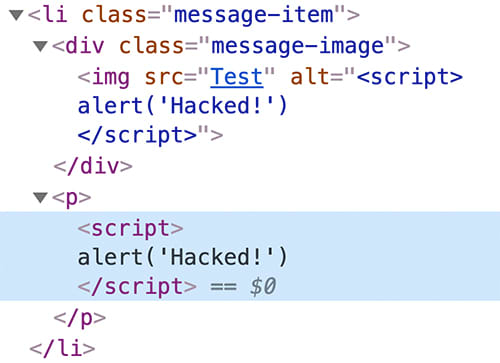 A real script element is rendered by the browser.
