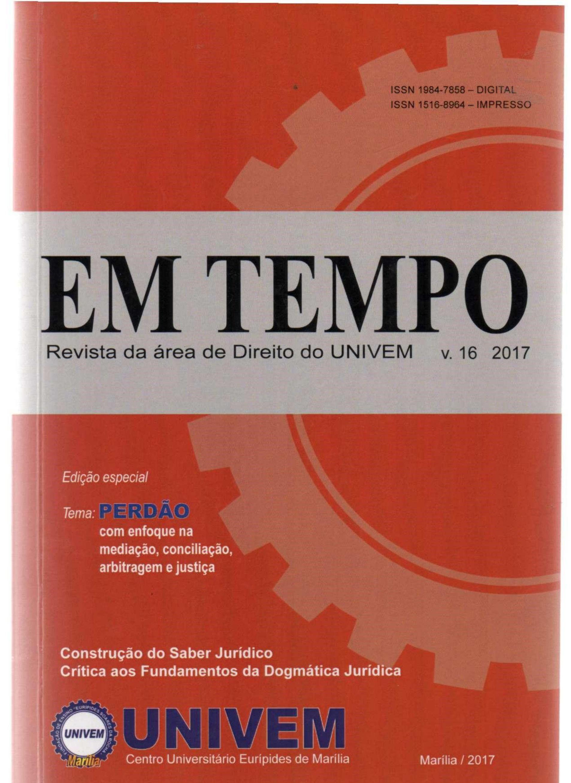 Em Tempo. Revista da Área de Direito do UNIVEM. Marília. SP, v. 16, 2017