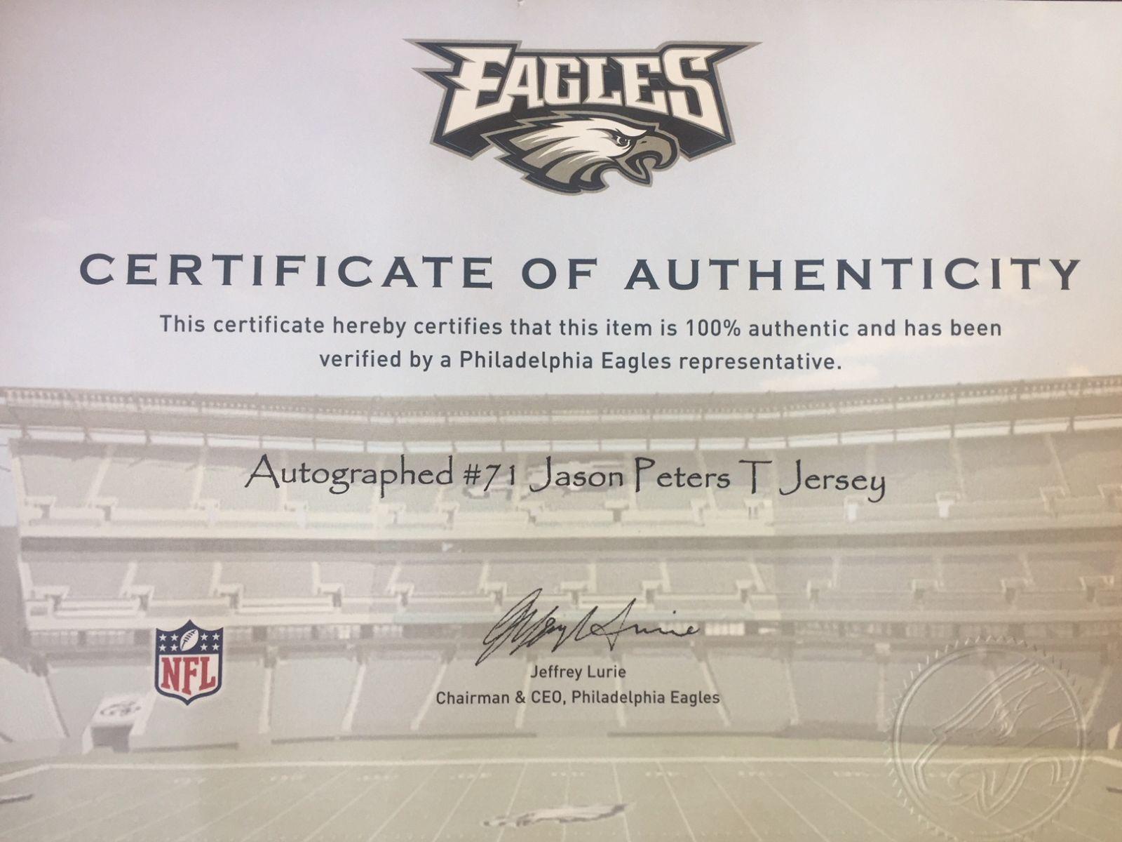 pretty nice 52df5 a5ba4 Auction Page   Jason Peters Autographed Philadelphia Eagles ...