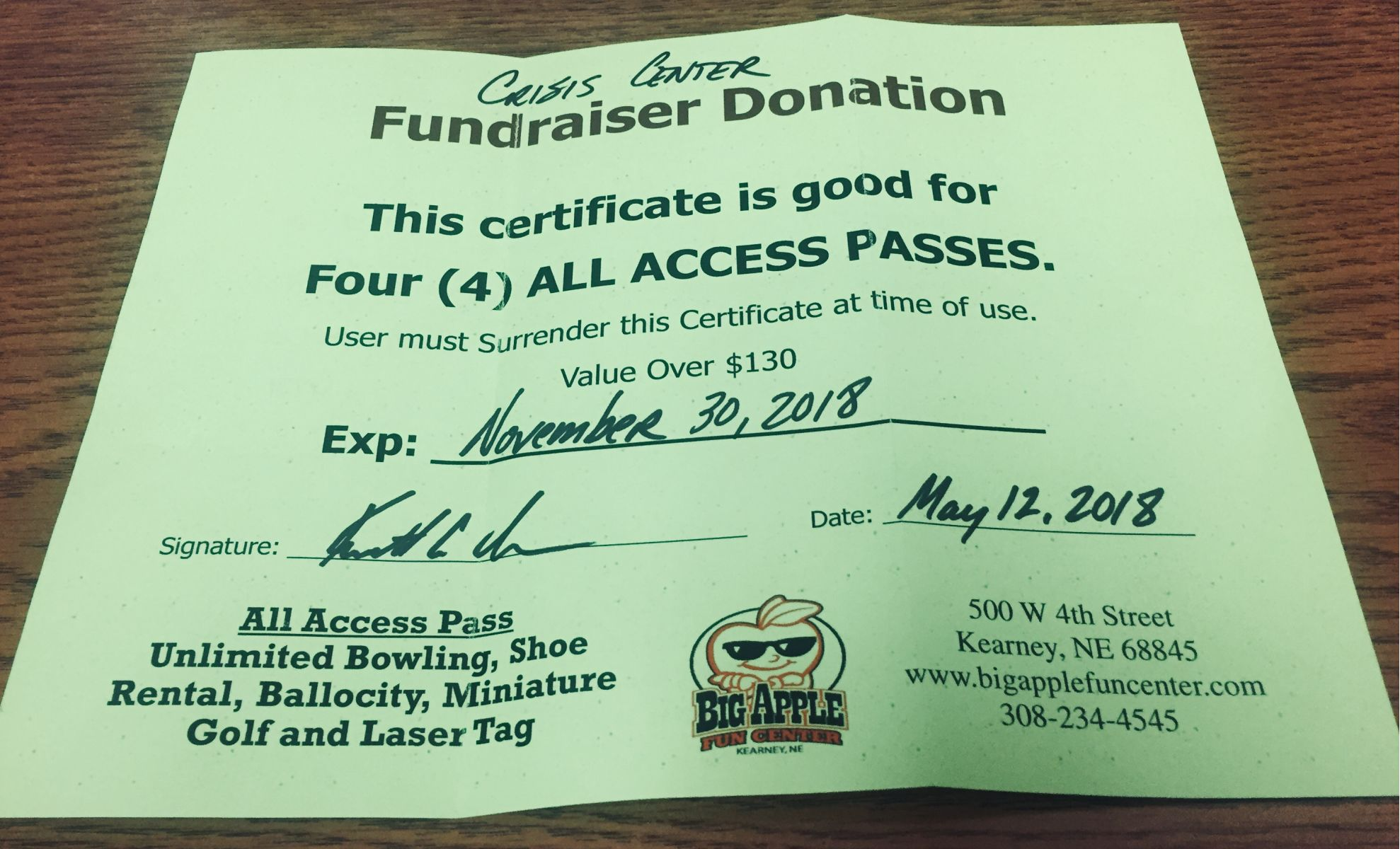 Auction Page | Big Apple Fun Center All Access Pass