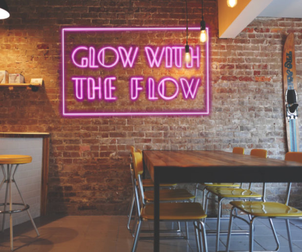 """Photo of """"Glow with the Flow"""" Lettering"""