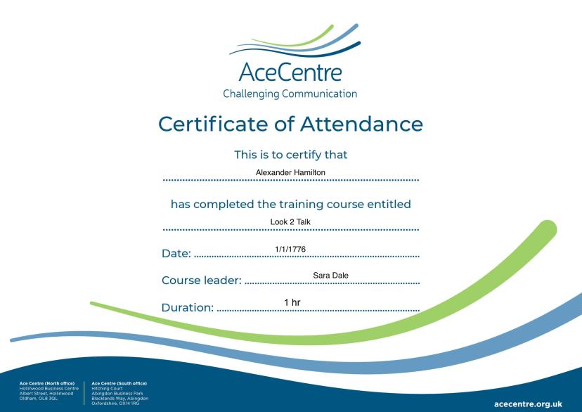 A certificate of attendance