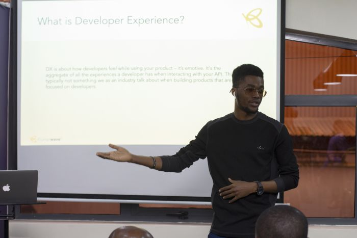 Ace giving a Developer Experience talk