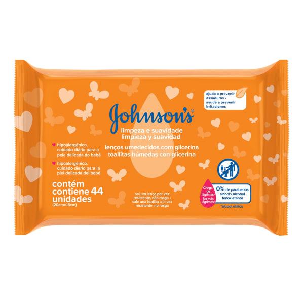 Toalha Hipoalergênica Limpeza Suave, Johnson's , 44 Unidades