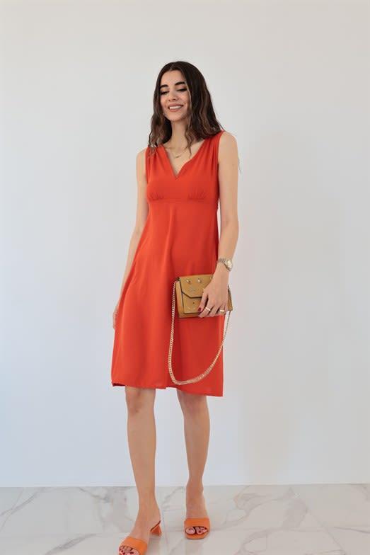 Connie Kiremit Rengi Mini Elbise