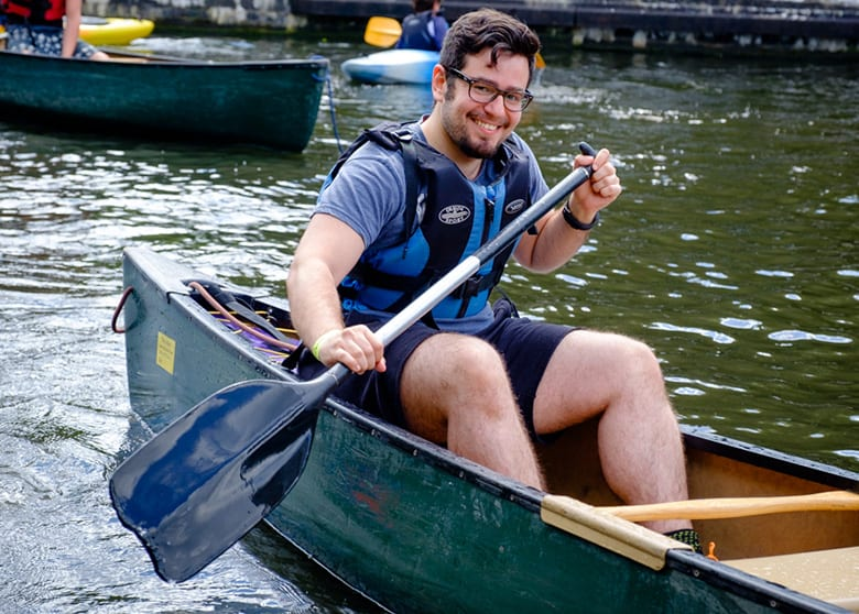 Happy man enjoying Canoeing in Birmingham