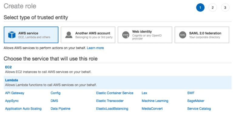 Creating a Lambda service role