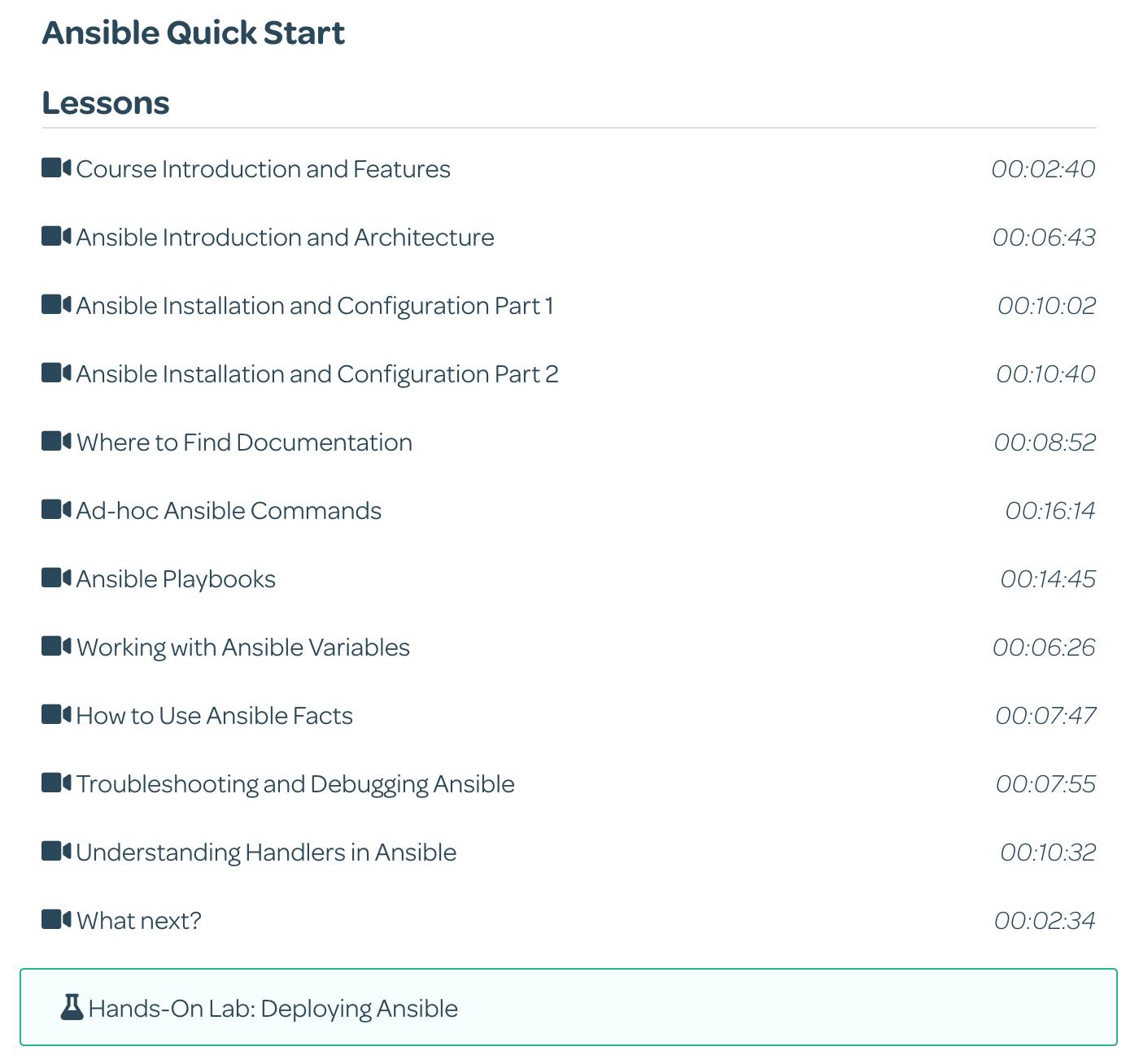 Ansible Quick Start course syllabus