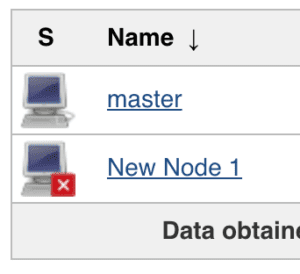 list of nodes including the master and an agent.