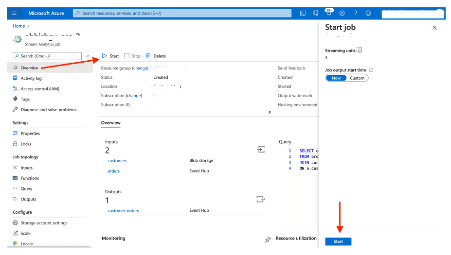 Screenshot showing the Azure Stream Analytics interface and where to select Overview, click Start and confirm