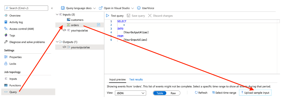 Visual showing how to open the Azure Stream Analytics job, select Query, and upload sample orders data for Event Hub input
