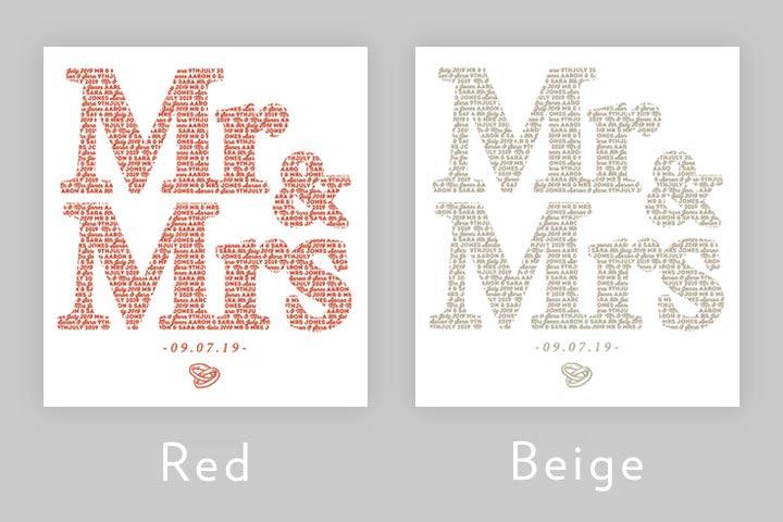 Personalised Mr&Mrs - Mr&Mr - Mrs&Mrs Light Box
