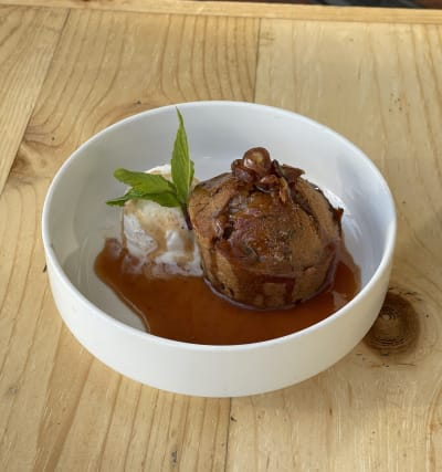 Warm Date Cake with Miso Caramel