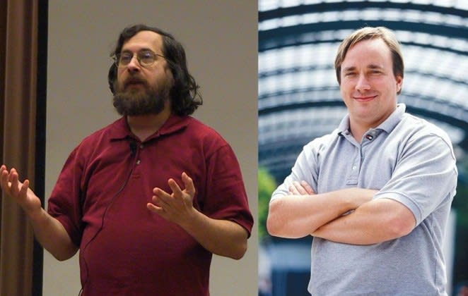 Richard Stallman and Linus Tolvards, champions of Free Software and Open Source respectively (Medium)