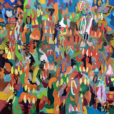 Abstract painting of flames by Grazyna Adamska Jarecka